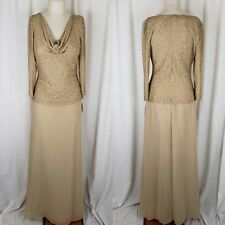 Lawrence Kazar Beaded Dress Drape Neck Long Maxi Womens 6 FORMAL GOWN Gold Tan