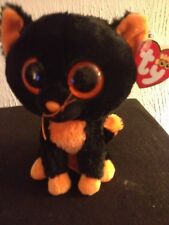 """Ty Beanie Boo Boos Moonlight Halloween Cat 6"""" Glitter Eyes Red Tag (Please read)"""