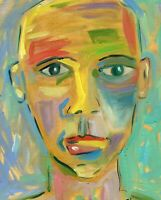 HINKLE portrait outsider folk art oil Painting contemporary modern expressionism