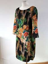 Monsoon Oriental Floral Print Ladies Tunic Dress 3/4 Sleeve Multi on Black 12 UK