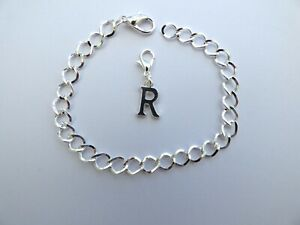 PERSONALISED SILVER PLATED CHARM BRACELET INITIAL ADULTS / TEEN / CHILDS GIFT
