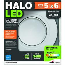 "Halo, RA 5""and 6"" White Integrated LED Recessed Ceiling Light Fixture Adjustable"