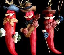Set Of 3 Cowboy Red Chili Ornaments Moustache Hat Resin wire