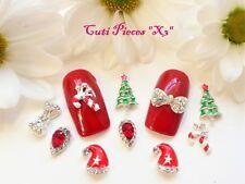 Christmas 3D Nail Art Rhinestones Jewels Cane AB Bow Elf Hat Mix Metal Alloy X3