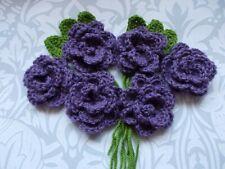 6 Hand Crochet Flowers  Purple Roses  6 Lime Green Leaves  Wedding