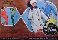 PUBLICITÉ 1960 NYLFRANCE NYLON TOUTE LA FRANCE L'ADOPTE VOUS AUSSI EXIGER - SKI