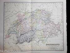 Original Antiquarian 1889 Map of Switzerland Victorian Geography Europe/European