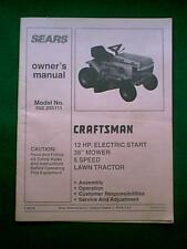 SEARS CRAFTSMAN TRACTOR 12 HP MODEL # 502255111 0WNER'S MANUAL