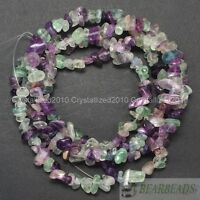 Natural Fluorite Gemstones 5-8mm Chip Beads Spacer Loose 35'' Bracelet Necklace