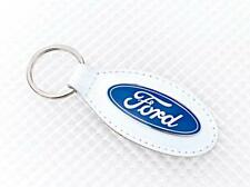 Ford White Leather Keyring Official Licensed Product Richbrook Fiesta Focus Ka