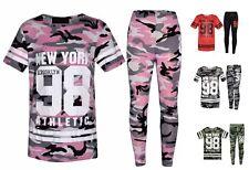 Girls Kids Camouflage New York Brooklyn 98 Print Top & Leggings Set Ages 7-13