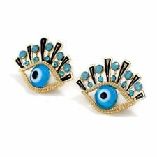 Vintage Evil Eye Turkish Nazar Greek Hamsa Kabbalah eye crystal stud earring