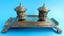 Beautiful Solid Brass Victorian Inkstand Ink Well England 1880s Inkwell