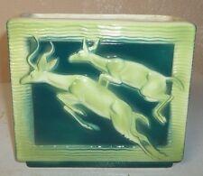 Art Deco Royal Copley Lime & Emerald Green Pottery Planter/Jumping Gazelles
