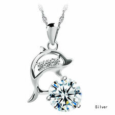 Sterling Silver Topaz Gemstone Crystal Dolphin Pendant Necklace Chain Box K31
