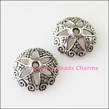 15Pcs Tibetan Silver Heart Flower End Bead Caps Connectors 14mm