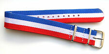 20mm RED WHITE BLUE SPORT NYLON ARMY STYLE WATCH BAND / STRAP - WASHABLE