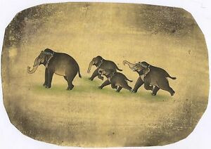 Indian Art Elephant Wild Scene Miniature Paper Wall Decor Painting Watercolor