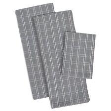 GRANITE Gray & White HEAVYWEIGHT Cotton 3 Piece Dish Towel and Dishcloth Set