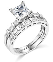 2.60 Ct Princess Engagement Wedding Ring Set Real 14K White Gold Matching Band