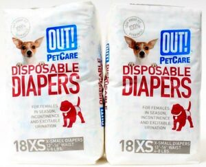 Out! Pet Care 18 XS Disposable Diapers for Female Dogs in Season 18 Per Pack