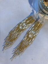 Native American Style Cascading 'Crystal AB & Golden Feathers' Beaded Earrings