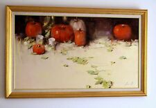 STILL LIFE WITH PUMPKINS ORIGINAL OIL PAINTING READY TO HANG LARGE SIZE