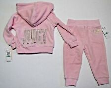 JUICY COUTURE Pink 2 PC Athletic Track Suit w Embroidery & Rhinestones 18M $65