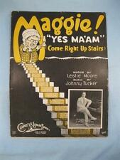 Maggie Yes Maam Come Right Upstairs Sheet Music Vintage 1923 Johnny Tucker (O)