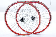 """PAIR 24"""" MTB SPECIAL WHEELS RED AIRLINE DOUBLE WALL RIM 5,6 or 7 SPEED 507x21c"""