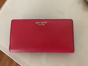 New Kate Spade New York Cameron Large Slim Bifold Leather wallet Rosso