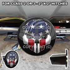 "Tow Hitch Receiver Insert Cover Plug 2"" X 2"" Truck & SUV - SPLIT USA FLAG SKULL"