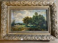 """Antique """"Landscape With Figures On Path Scene"""" Oil Painting - Framed"""
