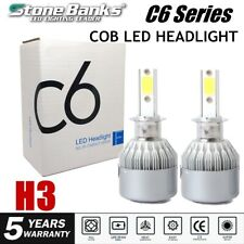 2X H3 COB LED Headlight 20000LM 100W 6000K White Light Lamp High Low Beam Bulbs