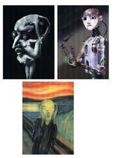 3 3D Lenticular Postcards -Robo, Munch-the Scream, sculpted head Nude Women