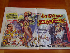 Vintage Belgian Movie Poster French Musical The Tropical Blonde Film 1957 Cortez