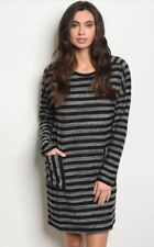 NWT Large Women's Black Stripe Long Sleeve Tunic Dress Boutique