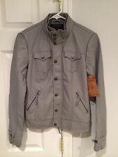 NWT True Religion Women's Vegan Leather Button/Zip Up Jacket Wolf Gray Size XS