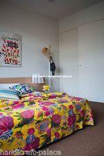 Indian Floral Kantha Quilt Bedding Reversible BedSheet Queen Size Home Decor Art