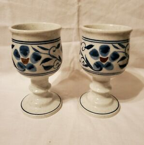 2 Handpainted Hand Thrown Ceramic Wine Goblets Pedestal Mug Chalice Blue Flowers