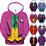 The Joker 3D Cosplay Hoodie Sweatshirt Zip up Jacket Coat Costume Tops Pullover