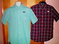 NWT NEW mens green red white blue CHAPS s/s easy care casual shirt $50 retail