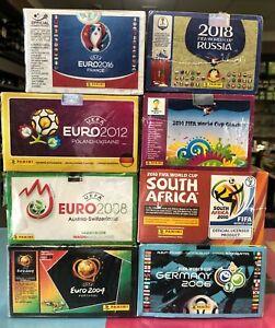 Mega Paket 800 Packs Panini je 100 WC 2018 2014 2010 2006 EC 2016 2012 2008 2004