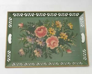 """Vtg Hand Painted Chippendale Metal Toleware Tray Green Rectangular Flowers 22"""""""