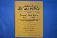 VINTAGE CALIFORNIA MINING JOURNAL JULY 1969 VOLUME 38 NUMBER 11