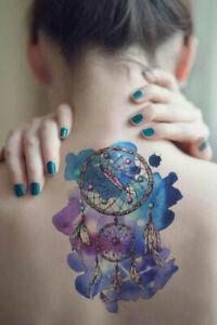 Dream Catcher Temporary Tattoo Sticker Watercolor Waterproof Women Girls Big