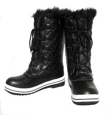 New Women's Mid Calf Boots Black Shoes Fur Lined Winter Snow Ladies size 9