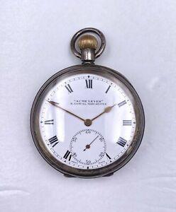 1900s 16s 10j H Samuel Manchester Silver Pocket Watch OF Runs 92.2g