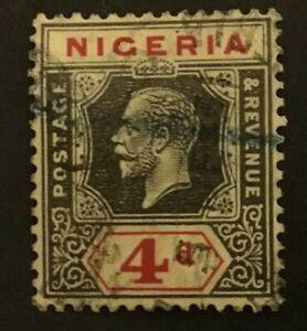 Nigeria KGV 1915 4d black & red on yellow - lemon back SG6a YT6, Scott6 used
