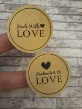 24 Handmade With Love Stickers, Round 38mm Stickers, Made With Love, Thank you